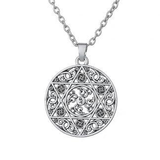 Zilveren ketting met davidsbloem